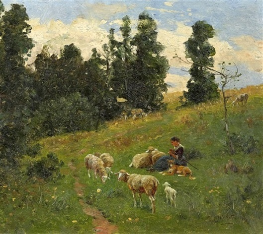 Spring Landscape With Young Shepherdess