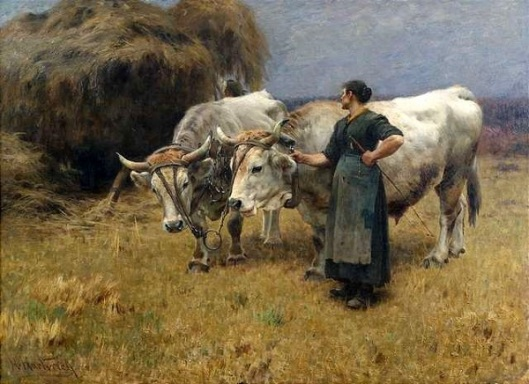 The Hay Harvest - Farmer With A Team Of Oxen