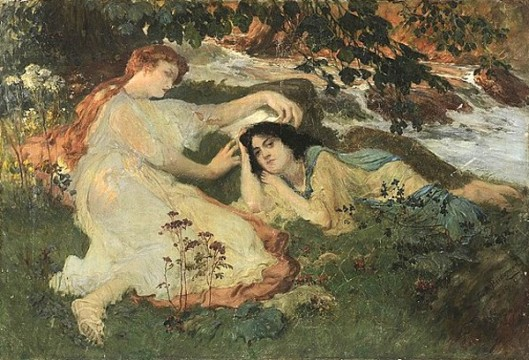 Two Women Resting By A River