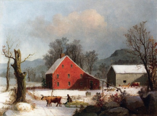 Winter Farmyard With Ox-Drawn Sledge