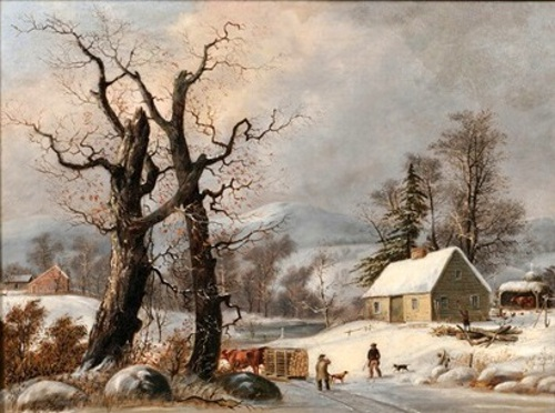 Winter Landscape With Cottage, Figures And Logging
