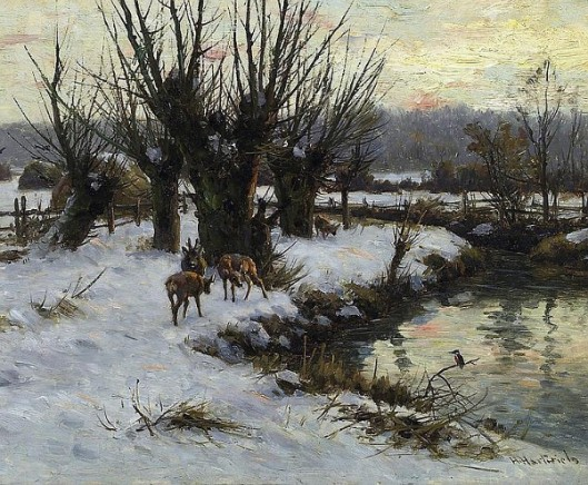 Winterly Landscape With Red Deer And Brook