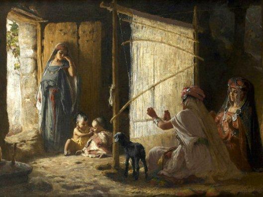 Women In Biskra Weaving The Burnoose
