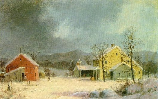 Yellow Farmhouse In Winter