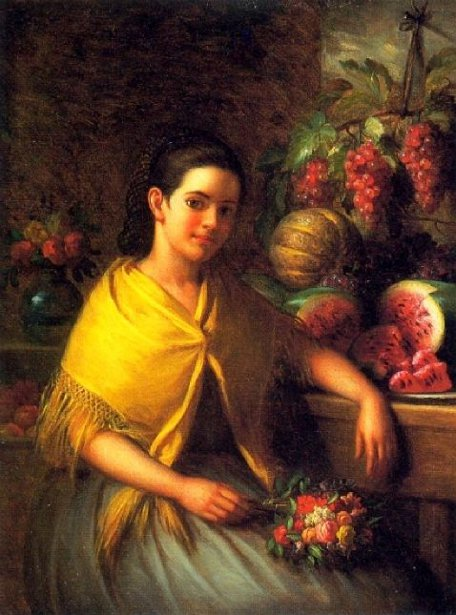 Young Girl With Fruit And Flowers