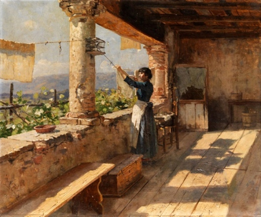 Young Italian Girl In A Loggia Hanging Up Laundry