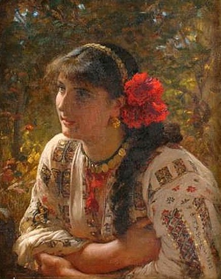 Young Lady With Red Flowers In Hair