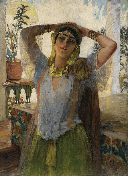 Young Oriental Girl On A Terrace