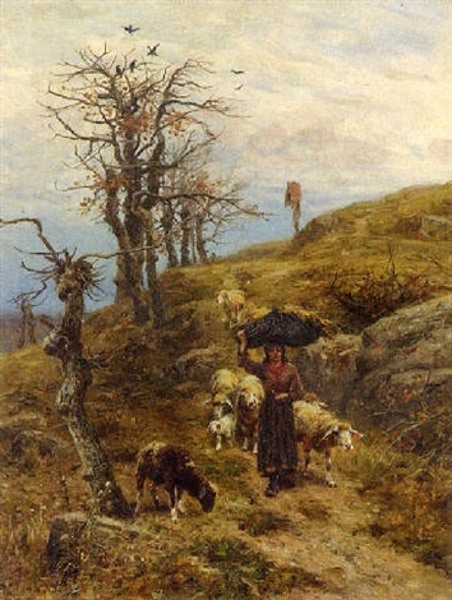 Young Shepherdess With Her Flock