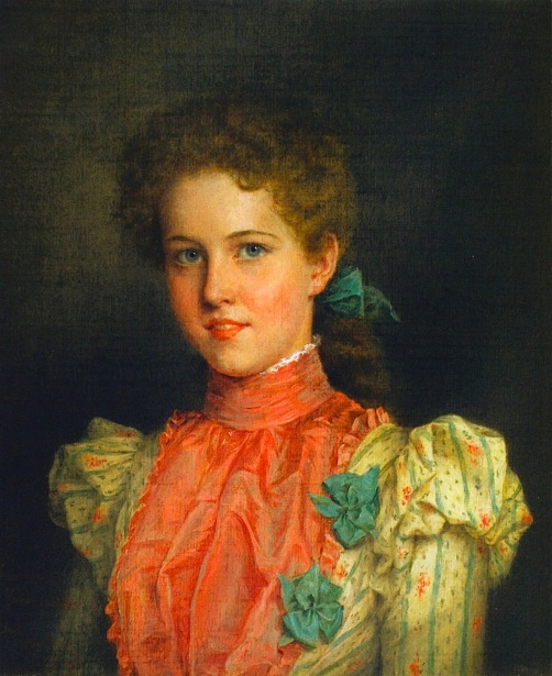 Young Woman In Pink And Green