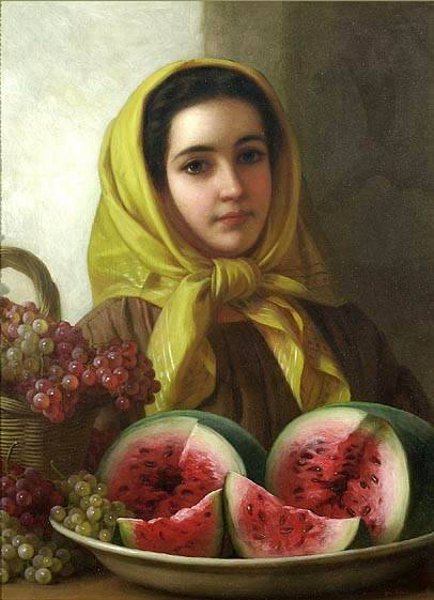 Young Woman With Grapes And Watermelon