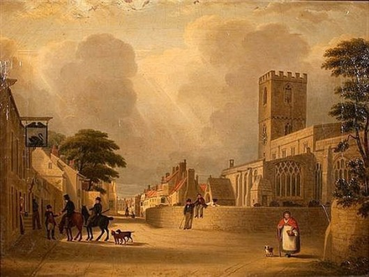 English Village Scene - English Street With Cathedral