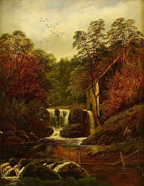 Landscape With Cascading River And Mill