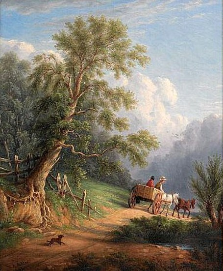 Landscape With Figures On A Cart