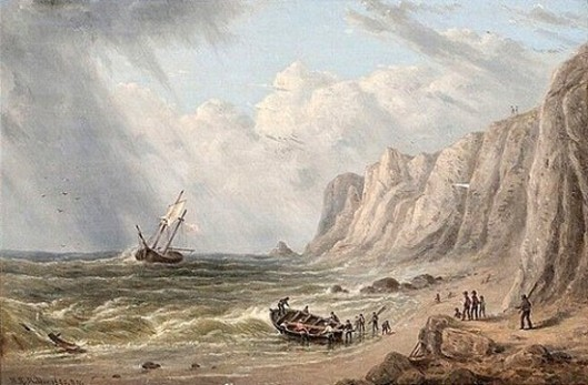 Ship Foundering Off A Coastal Cliff