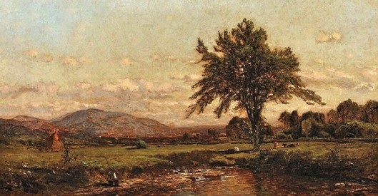 View Of A Fisherman By A Creek With Grazing Cattle