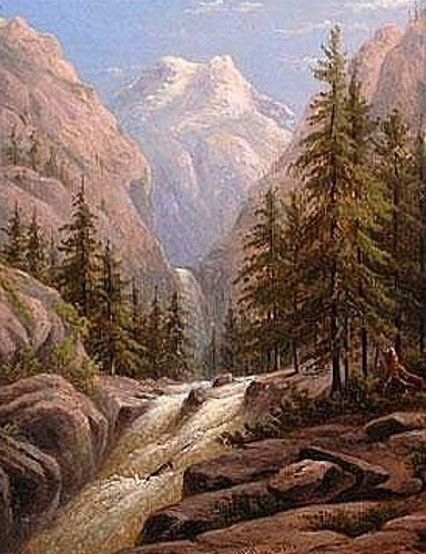 Western Mountains With Waterfall