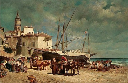Figures Gathered Along A Mediterranean Shore