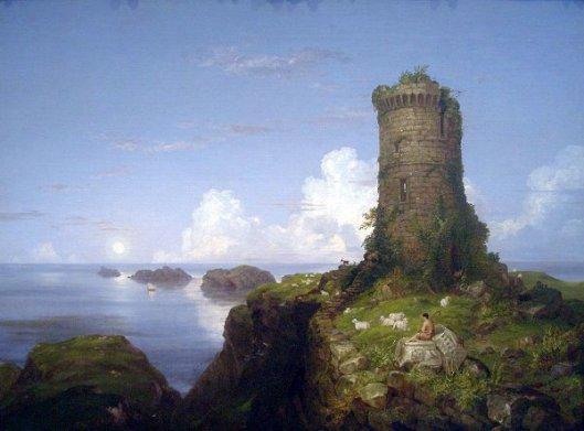 Italian Coast Scene With Ruined Tower