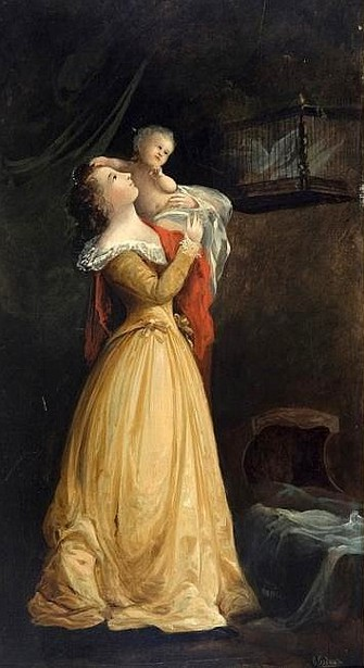 Lady Standing With Child And Birdcage