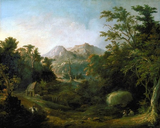 Landscape With Farm And Mountains