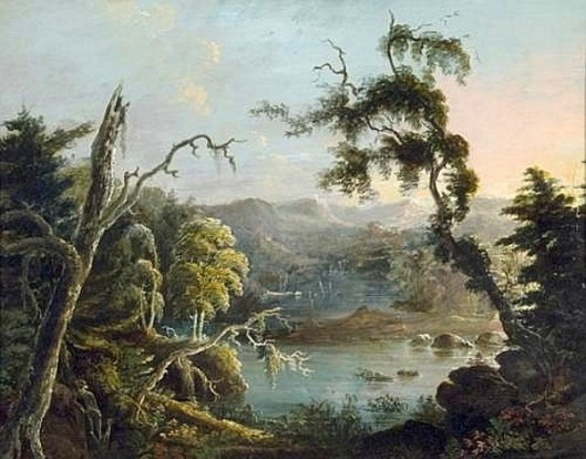 The Hunter And His Dog - Landscape With Prominent Mossy Tree