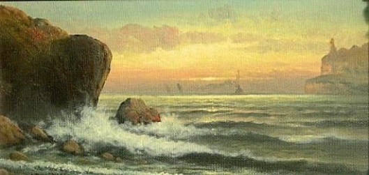 A Coastal View With A Lighthouse In The Distance