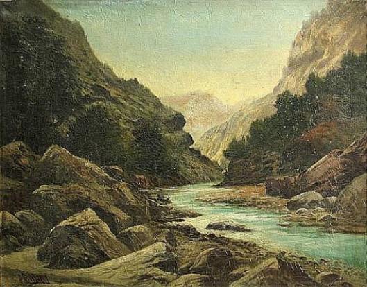 A River In A Mountainous Landscape