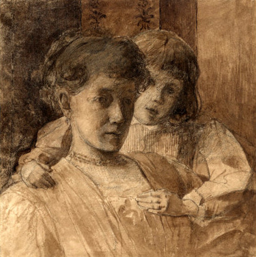 Anna And Caro. Drawing For Woman And Little Child