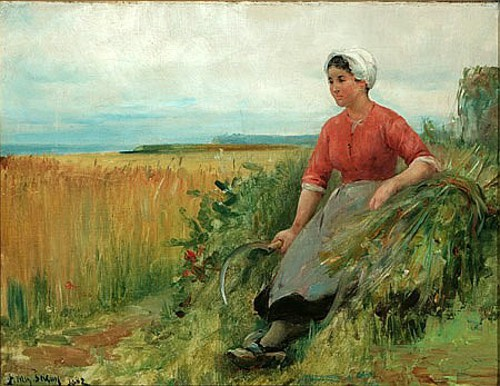 Breton Woman Resting With Scythe On A Sheath Of Wheat