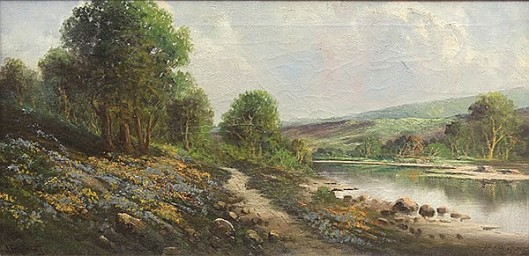 California Landscape With Lupine And Poppies By A River