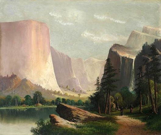 California Landscape With Two Indians On Footpath