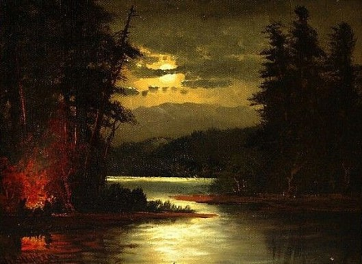 Campfire By A Moonlit Lake