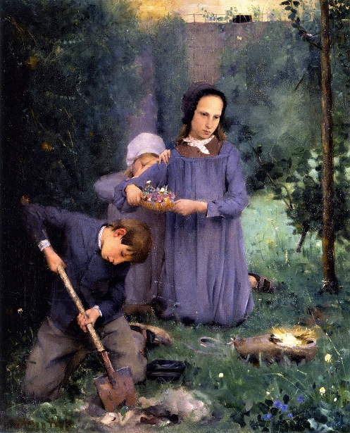 Children Burying A Bird