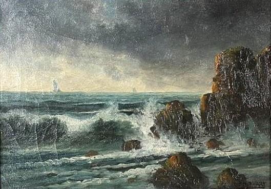 Coastal Landscape And Crashing Waves