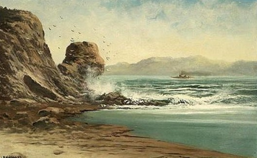Crashing Waves And Birds Flying In A Coastal Landscape