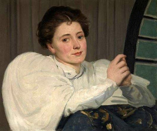 Lady In Front Of A Fan Window
