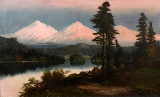 Landscape At Sunset With Mountains Lake And Trees