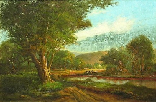 Landscape With Cows Watering At A Lake