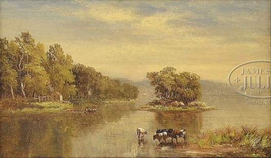 Landscape With Lake And Cows