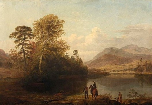 Landscape With Riders At A Mountain Lake