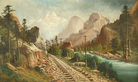 Landscape With River Valley And Train Tracks