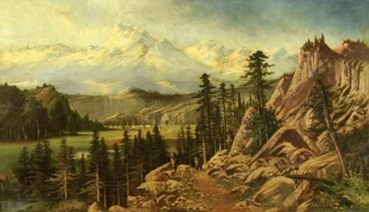 Mountain Landscape With Three Indians Watching A Pioneer Wagon Trail