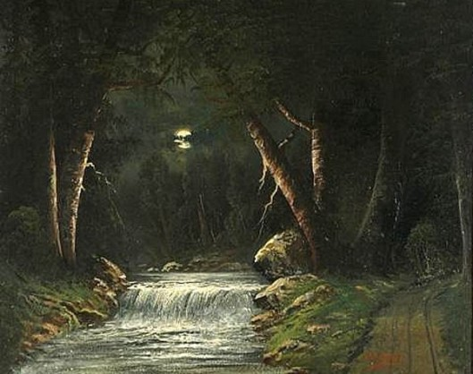 Mountain Stream By Moonlight