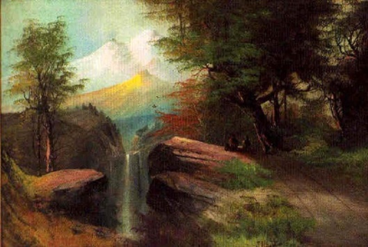 Mountainscape With Waterfall At Sunset (signed as J. Hart)