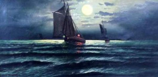Nocturnal Sailship At Sea (signed as M. C. Williams)