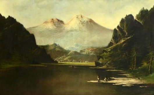 Panoramic Western River Valley Landscape With Indians