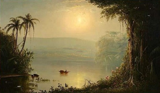 Punt In Tropical River Landscape