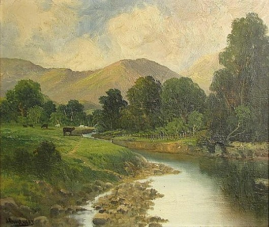 River Landscape With Mountains In The Distance