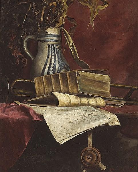 Still Life With Trombone And Books On A Table